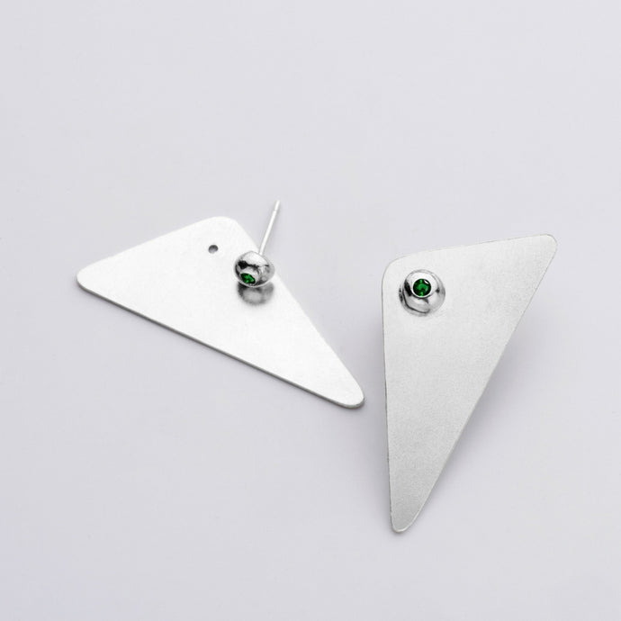 Amy Silver Earrings -   Green Zircon