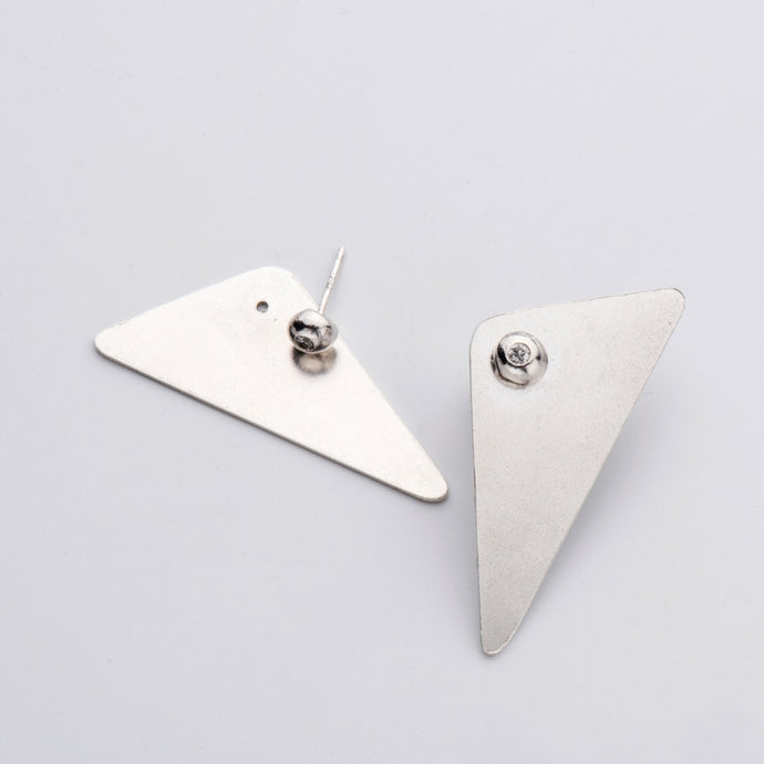 Amy Silver Earrings - White Zircon