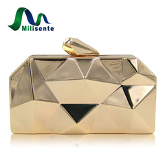 Milisente Women Metal Clutches Top Quality Hexagon Mini Party Black Evening  Purse Silver Bags Gold Box ... dc1fc396789e