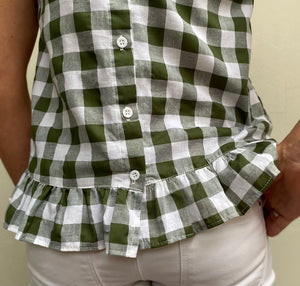 Macey - Olive check cotton
