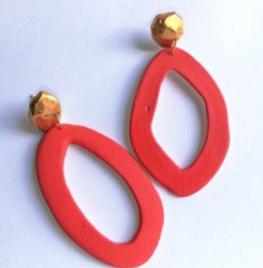 Asymmetrical Hoops Red