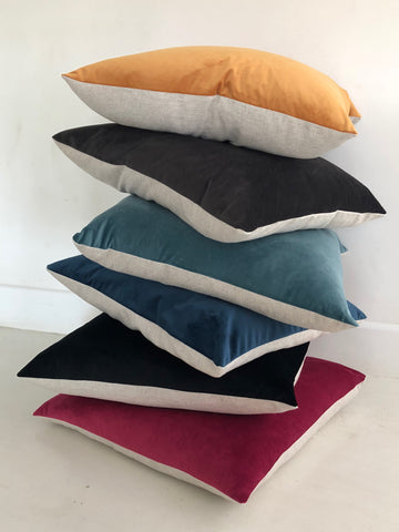Velvet & Linen backed Square Cushions