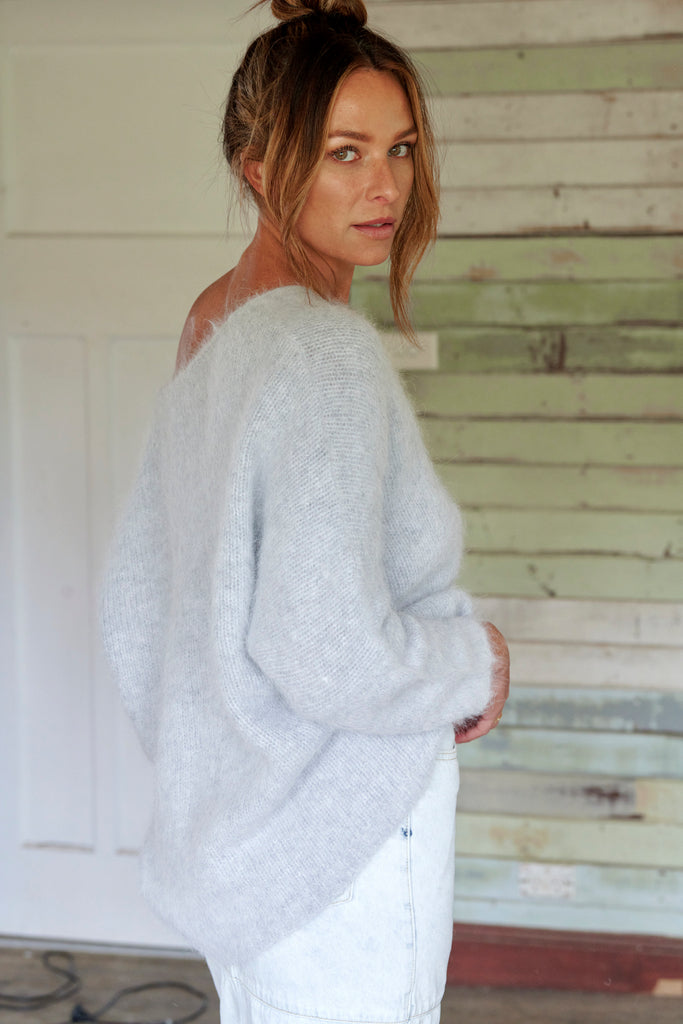 Angora V-Neck Sweater Dove Grey