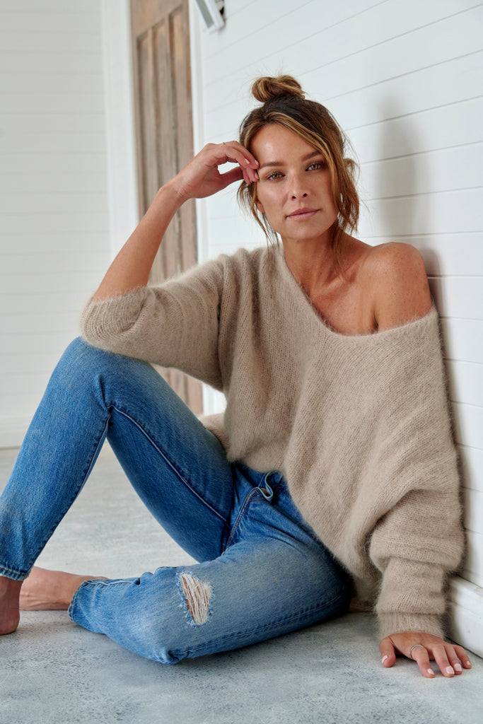 Angora V-Neck Sweater  Wheat