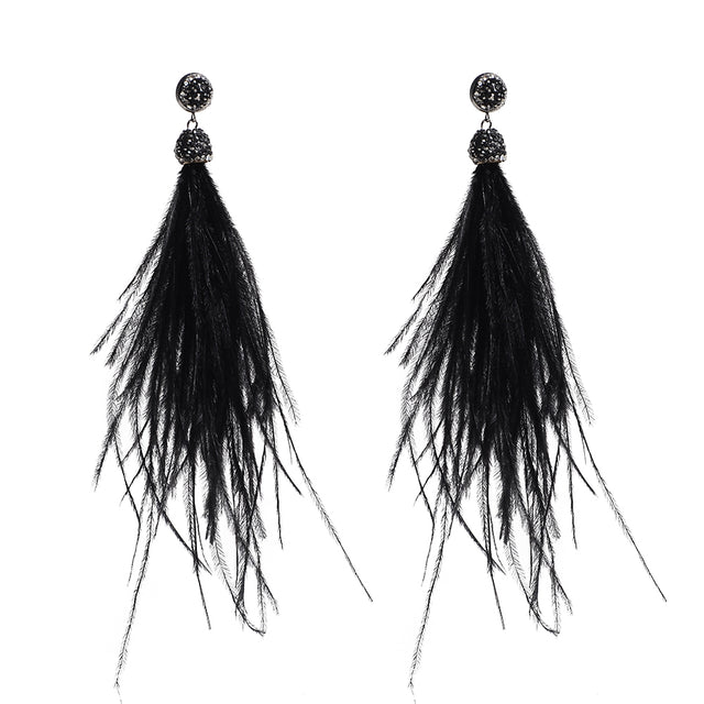 Tassel Feather Earrings  Black