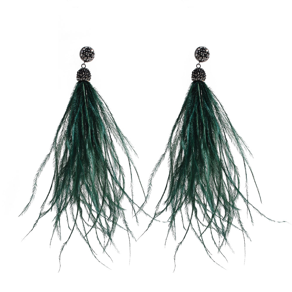 Tassel Feather Earrings  Emerald