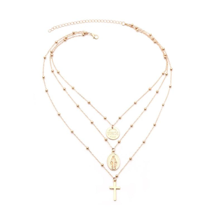 Mary Layered Necklace  Gold