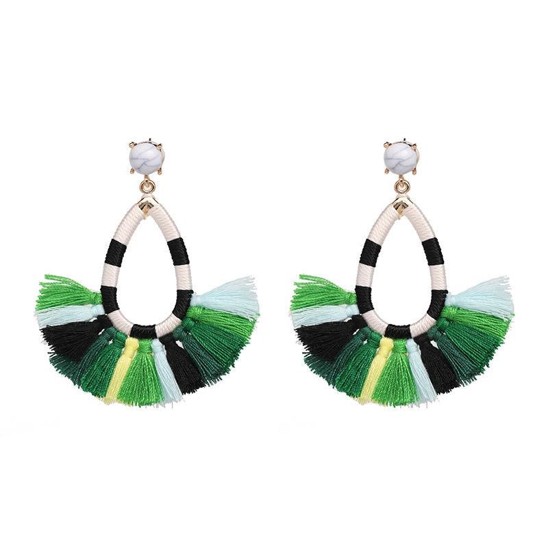 Fan Tassel Drop Earrings