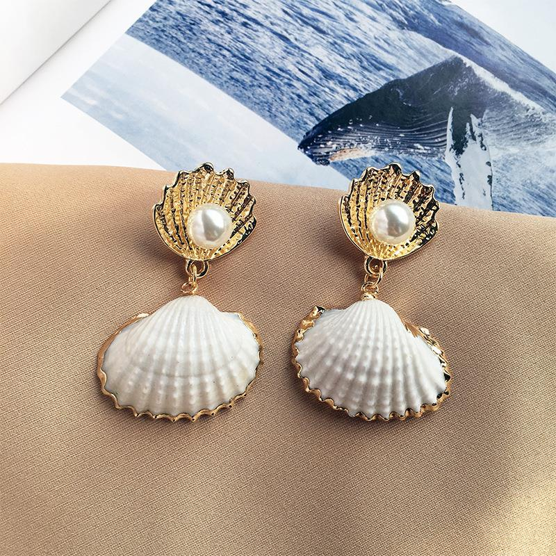 Cockle Shell Pearl Drop Earrings