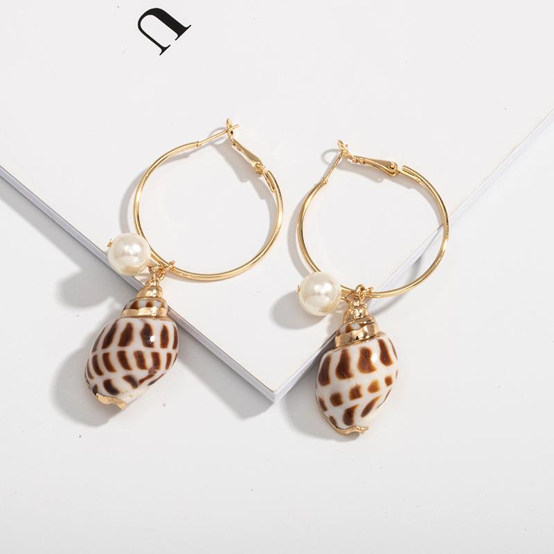 Cassie Shell Pearl Hoops