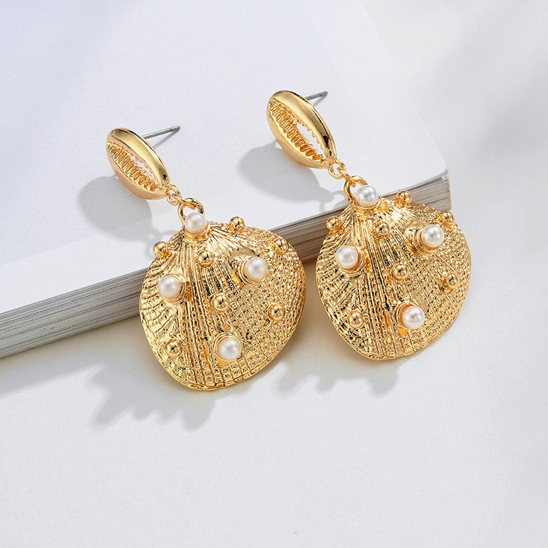 Gold Cowrie Cockle Shell & Pearl drop Earrings