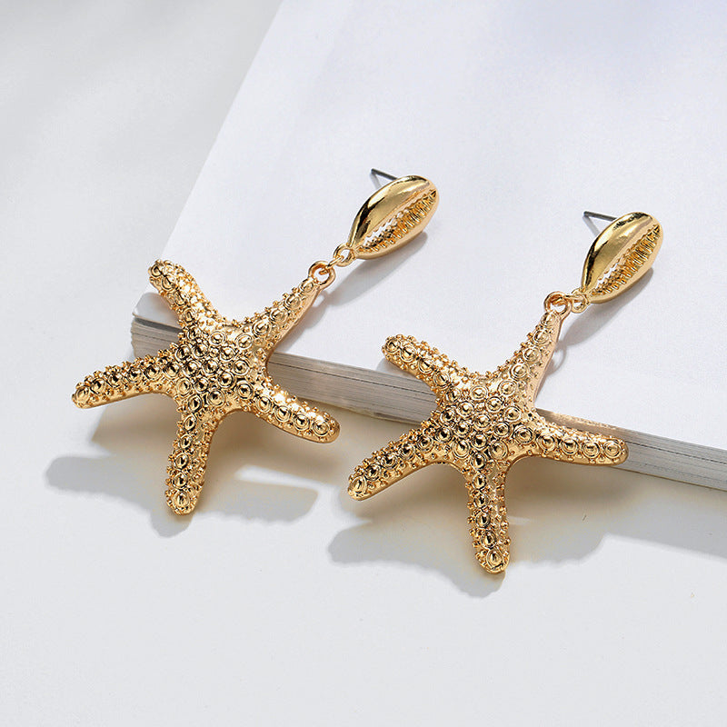 Cowrie Starfish Earrings