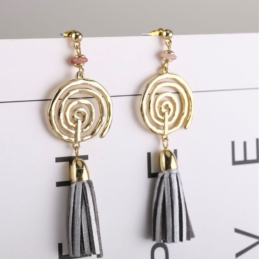 Tassel Contrast Stone Earrings