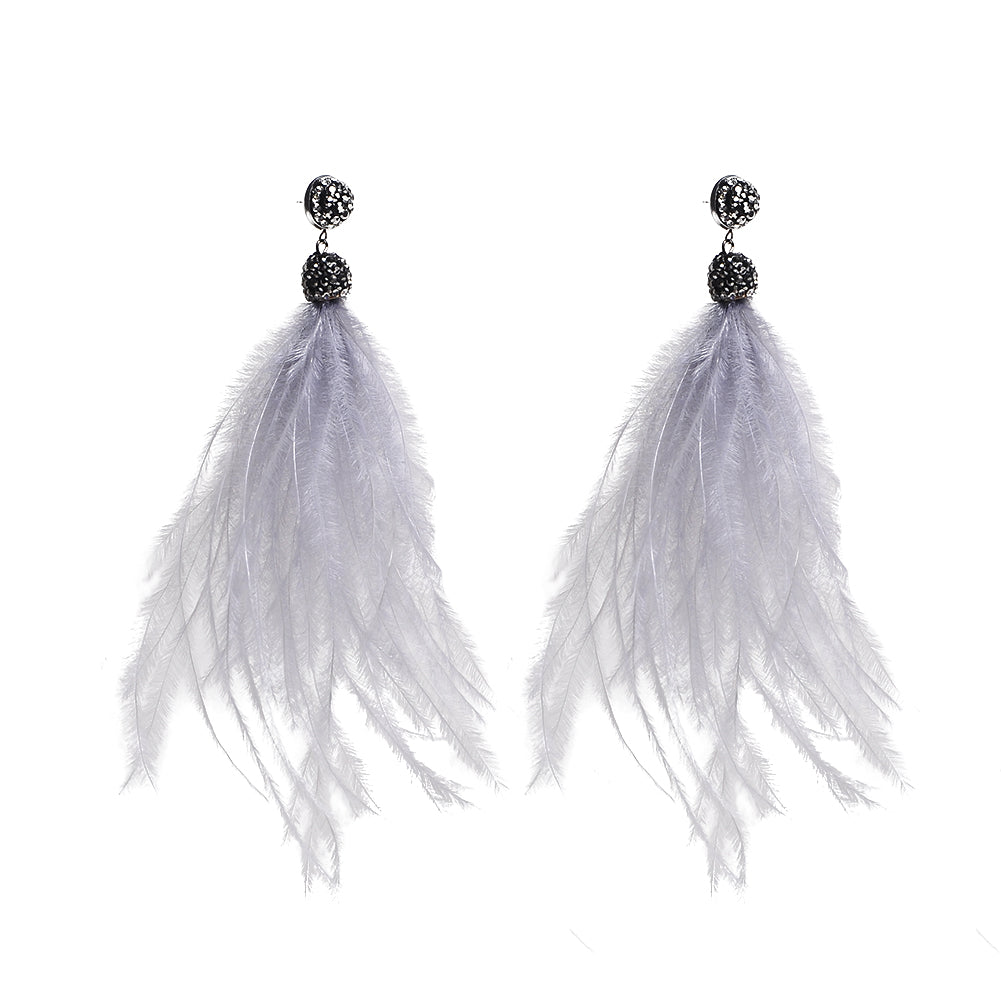 Tassel Feather Earrings Silver