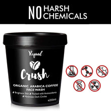 Ryaal Crush - 100% Organic Arabica Coffee Facewash Cleanser - SLS & Paraben Free - Skin Brightening and Tightening - Ryaal