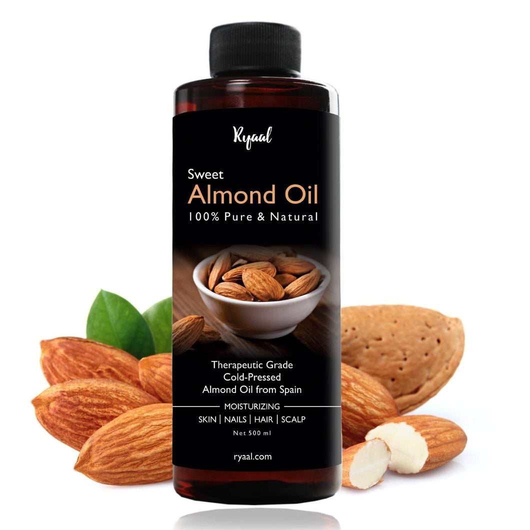 Ryaal Sweet Almond Oil - 100% Organic & Cold Pressed Oil - For Hair & Skin (500ML)
