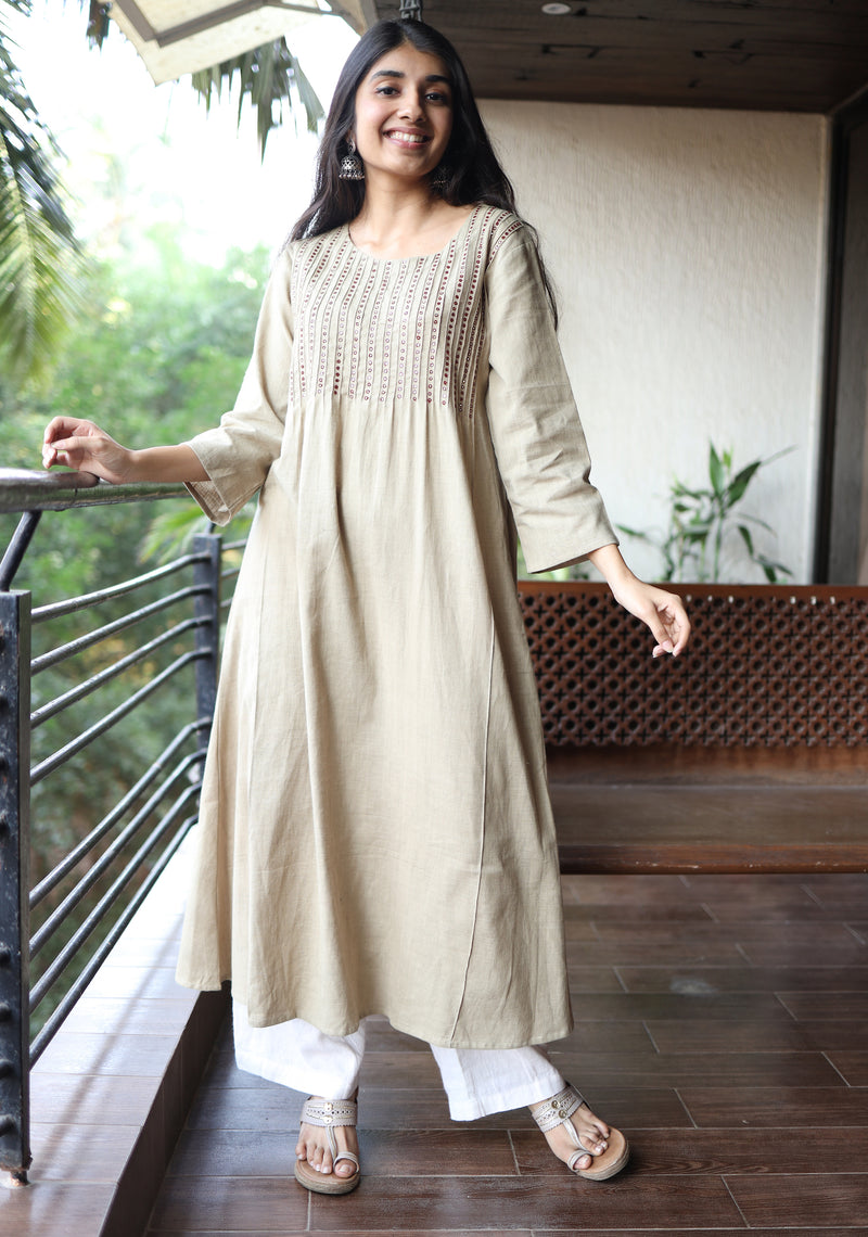 Beige Mirror Embroidered Organic Kurta