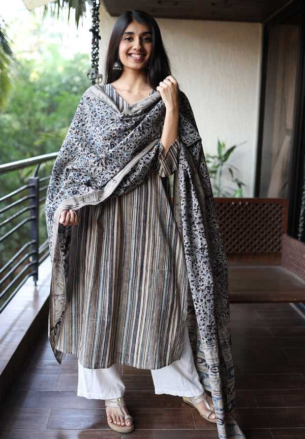 Indigo Black Striped Cotton Kurta + Dupatta