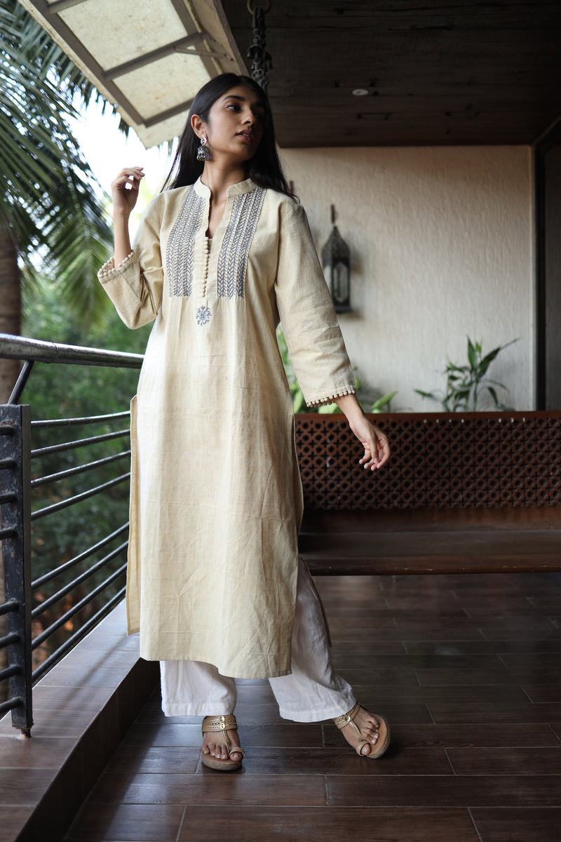 Light Yellow Hand Embroidered Kurta