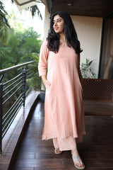 Peach Organic Cotton Kurta 3pc set