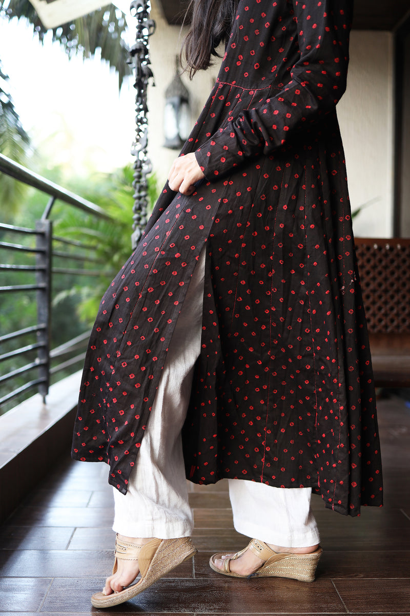 Black Bandhani Anarkali