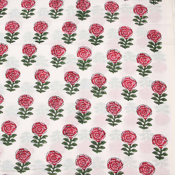 White-Red Flower Butti Sanganeri Cotton Fabric