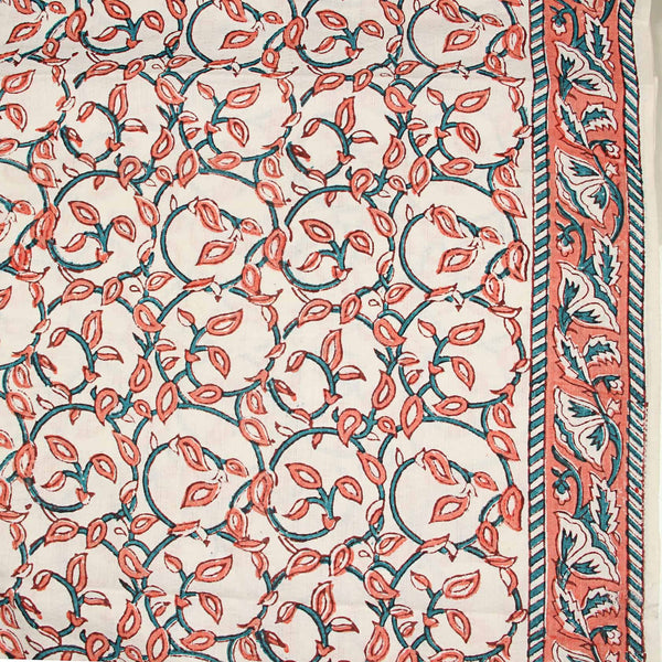 Off White Leaf Jaal Sanganeri Cotton Fabric