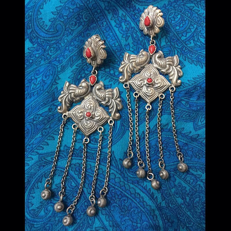 Coral Long Earrings