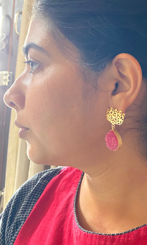 Jali Lotus With Druzy Drop: Pink