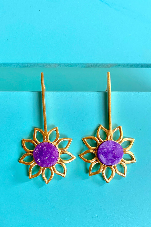 Stick With Druzy Flower: Purple