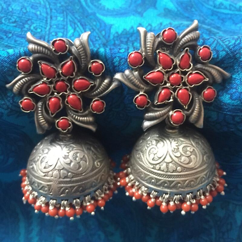 Coral Bead Jhumka Earrings