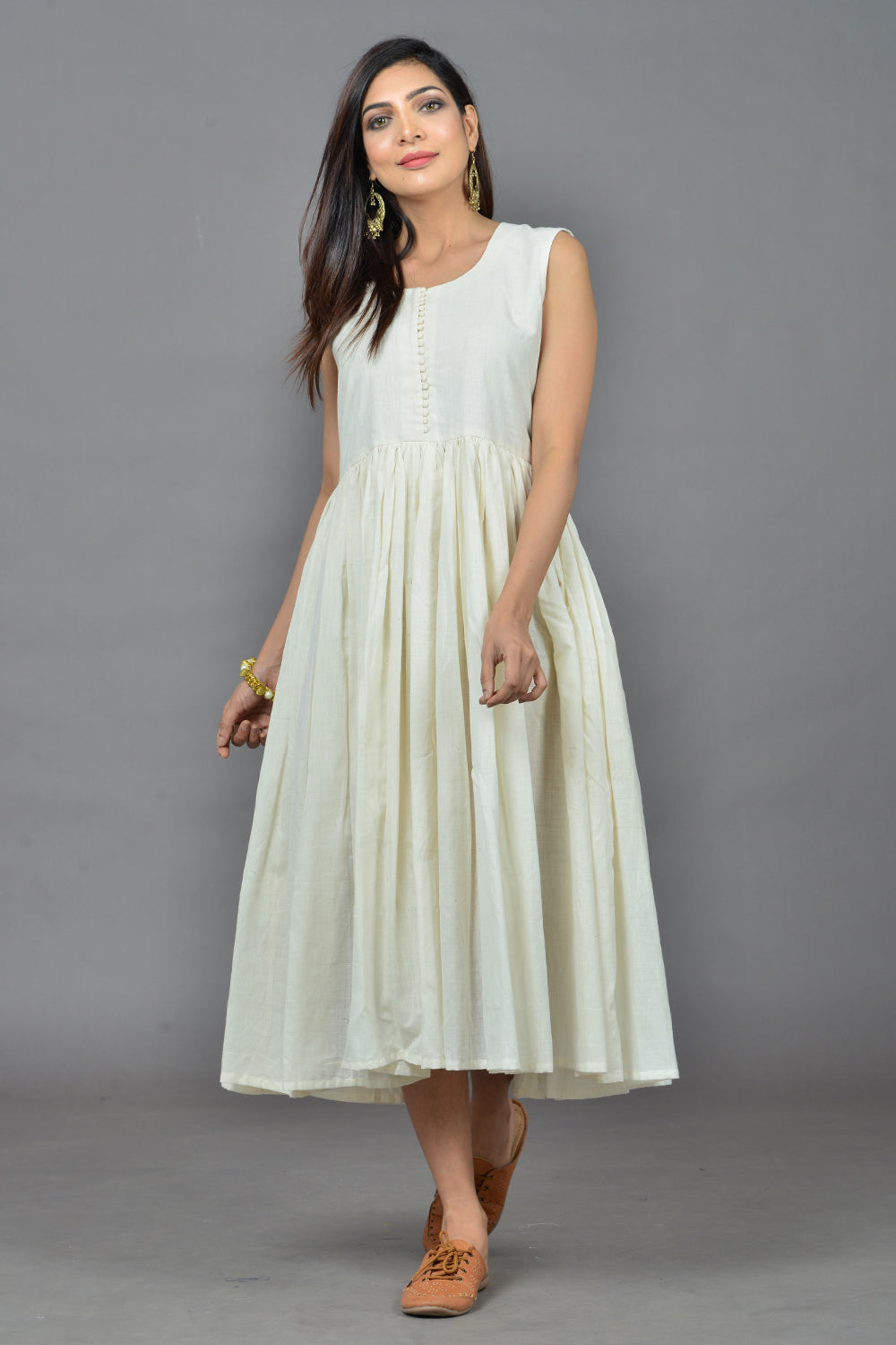 Ivory Handwoven Cotton Flared Dress