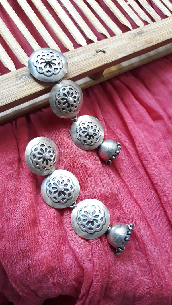 Silver Floral Trail Jhumkas