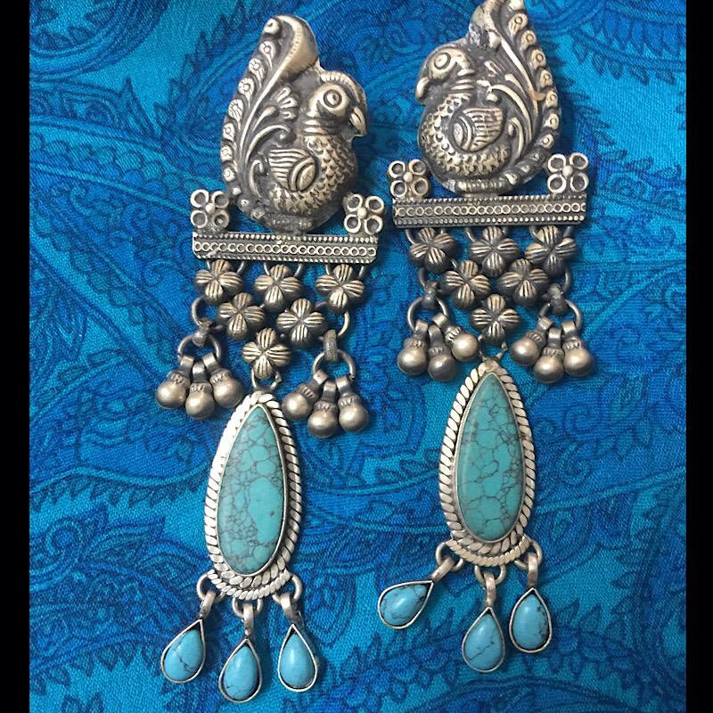 Peacock Statement Dangler Earrings