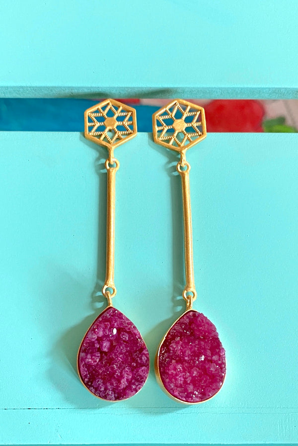 Jali Stud With Stick And Drop Druzy: Pink