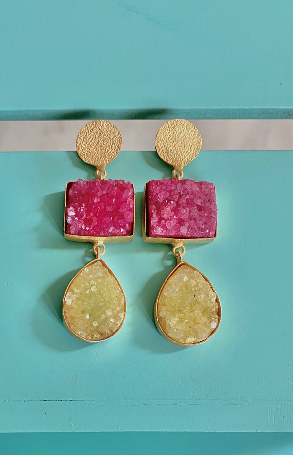 Hammered Stud With Rectangle And Drop Druzy: Pink and Yellow
