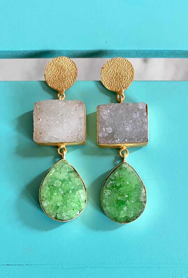 Hammered Stud With Rectangle And Drop Druzy: White and Green
