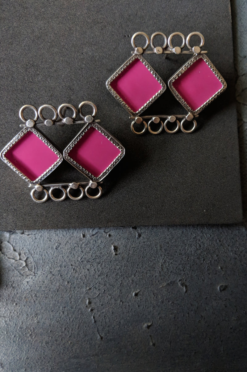 Double Square Linked Earrings