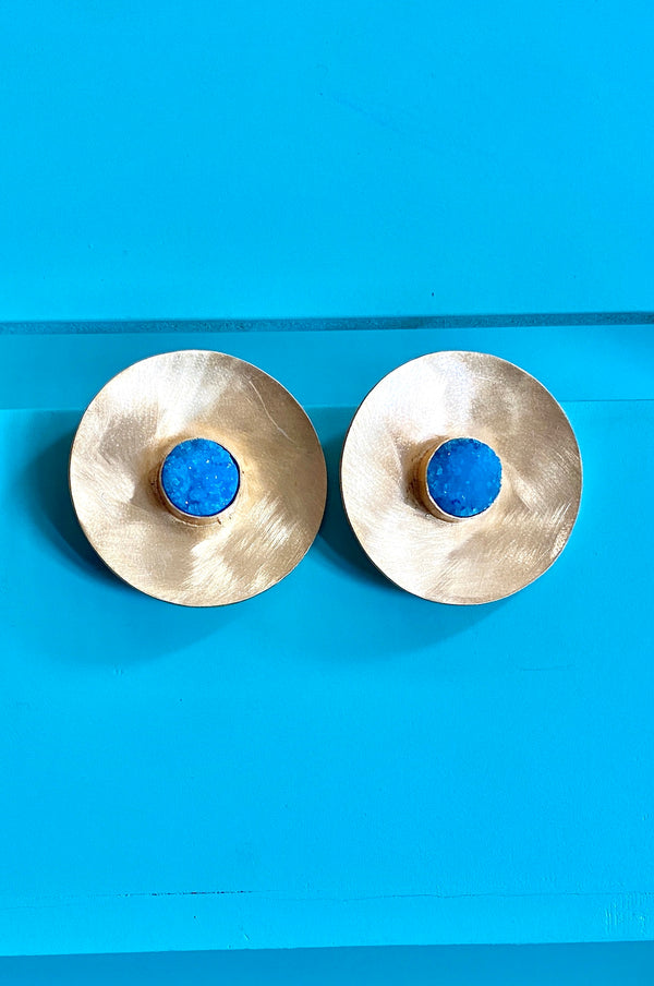 Circular Gold Stud With Blue Round Druzy In Between