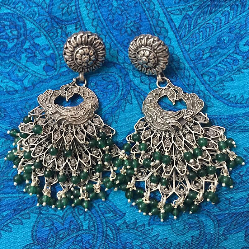 Emerald Green Peacock Earrings
