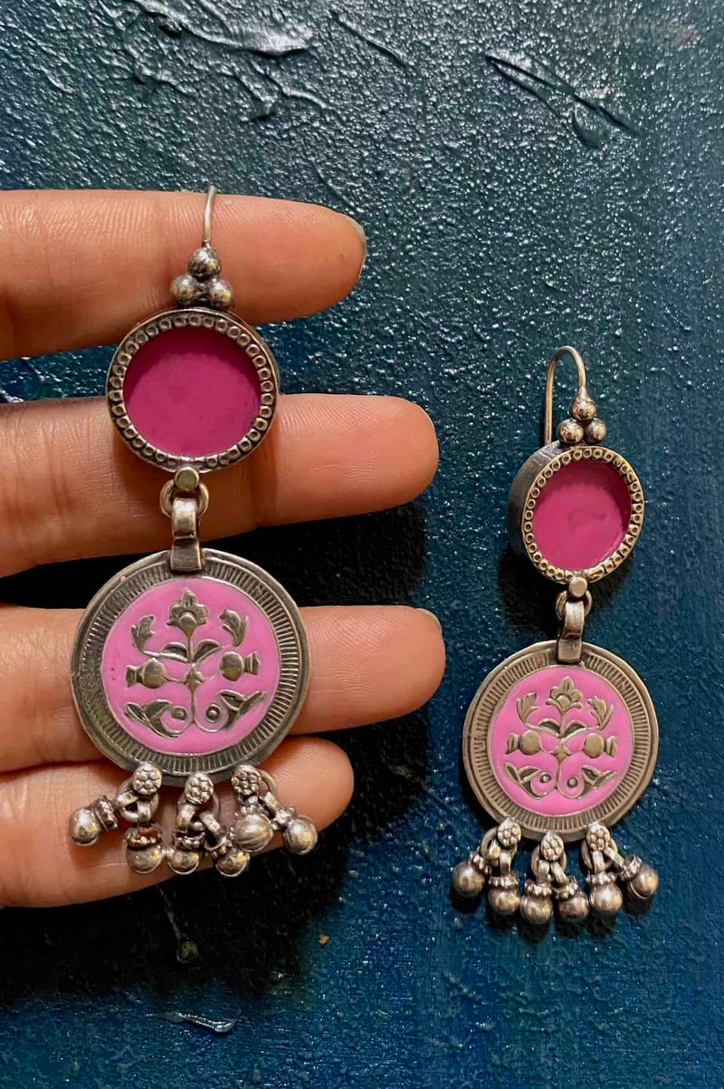 Pink Glass Enamel Circle With a Pink Enamel Motif At Bottom