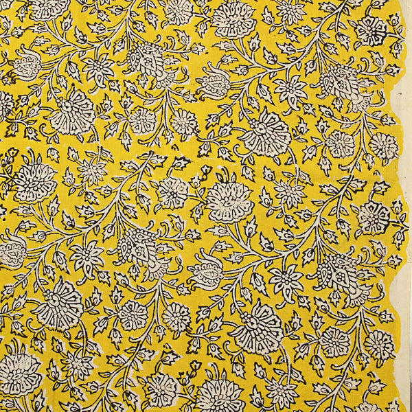 Yellow Sanganeri Cotton Fabric