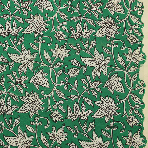Sea Green Leaf Jaal Sanganeri Cotton Fabric