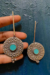 Silver Stick Stud Woth A Round Motif At Bottom With A Turquoise Glass Enamel Circle At Bottom