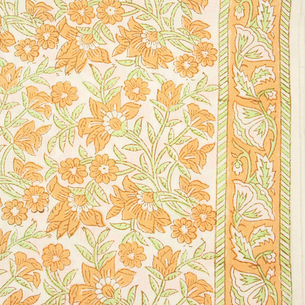 Off White Orange Floral Jaal Sanganeri Cotton Fabric
