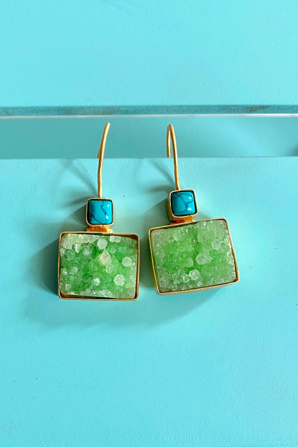 Turquoise Square With Green Rectangle Druzy
