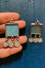 Hand Painted Jali In A Silver Square And Enamel Charms