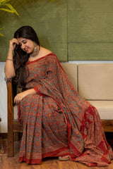Ajrakh Handblock Printed Natural Dyed Mul Cotton Saree