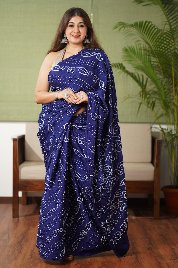 Bandhej Cotton Satin Saree