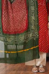 Bandhej Threadwork Detail Kurta